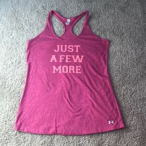 "Under Armour pink tank top. ""Just a few more"""